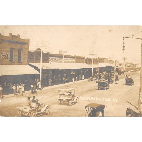 Hereford Texas Street Scene Real Photo Postcard