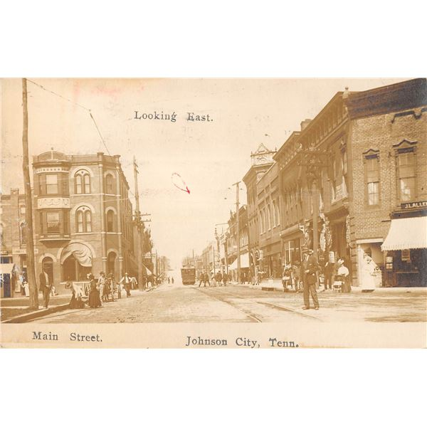Main Street Looking East Johnson City, Tennessee Real Photo Postcard