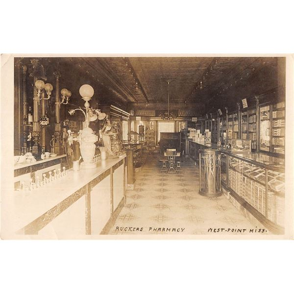 West-Point Mississippi Ruckers Pharmacy Soda Fountain Interior Real Photo Postcard