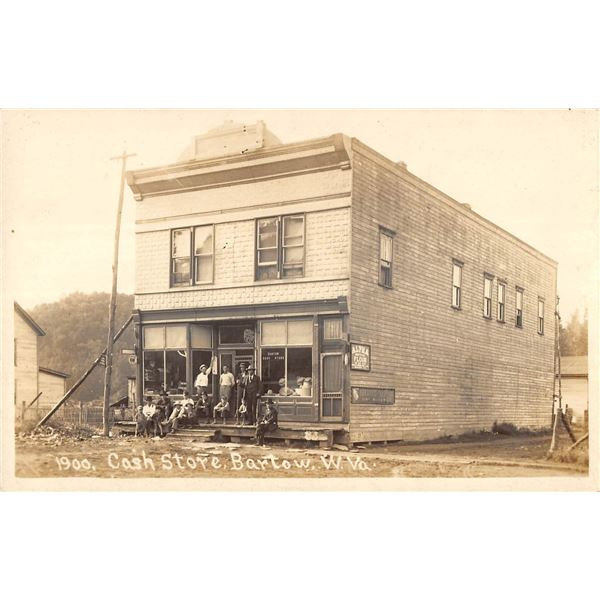 Bartow, West Virginia Cash Store Front with Men Sitting on Front Step Real Photo Postcard