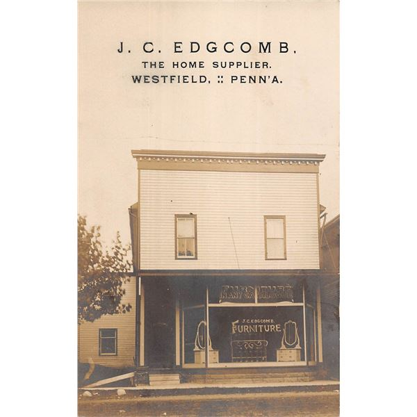 Westfield, Pennsylvania J. C. Edgecomb Home Supplier Furniture Store Front Real Photo Postcard