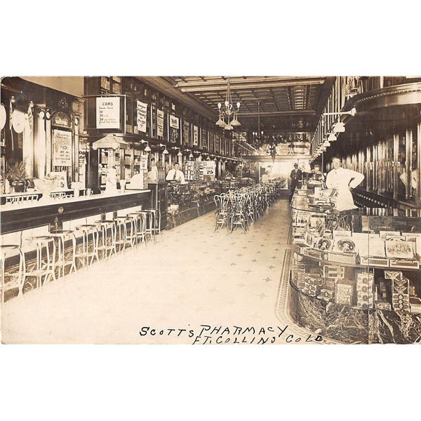Ft. Collins, Colorado Scott's Pharmacy Interior Soda Fountain Real Photo Postcard