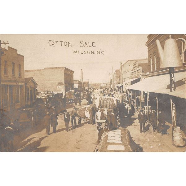 Wilson, North Carolina Cotton Sale Street Scene Store Front Real Photo Postcard