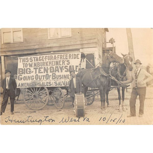 Huntington, West Virginia Horse Drawn Wagon Real Photo Postcard