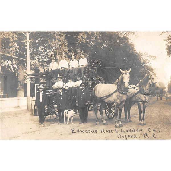Oxford, North Carolina Edwards Hose & Ladder Co Fire Department Horse Drawn Fire Engine Real Photo P