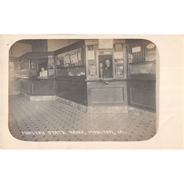 Moulton, Iowa State Bank Interior Real Photo Postcard