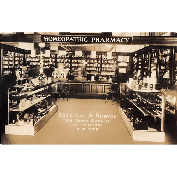 New York City Homeopathic Pharmacy Interior Boerick & Runyon Sixth Avenue Real Photo Postcard