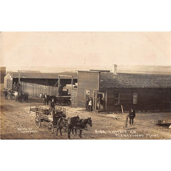 Plentywood, Montana Riba Lumber Co. Horse Drawn Wagon Real Photo Postcard