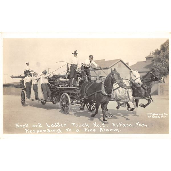 El Paso, Texas Hook & Ladder Truck No. 1 Horse Drawn Fire Engine Real Photo Postcard