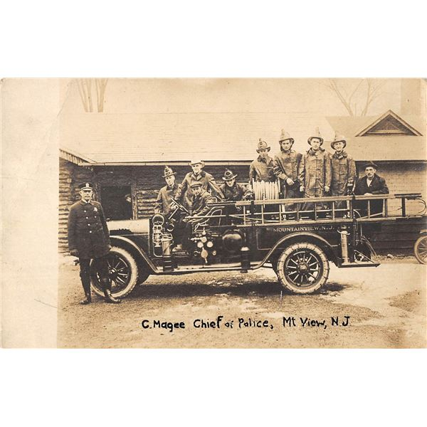 Mt. View, New Jersey C. Magee Chief of Police & Fire Department on Engine Real Photo Postcard
