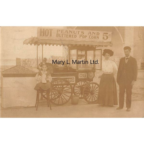 Popcorn Wagon Real Photo Long Beach, California Postcard