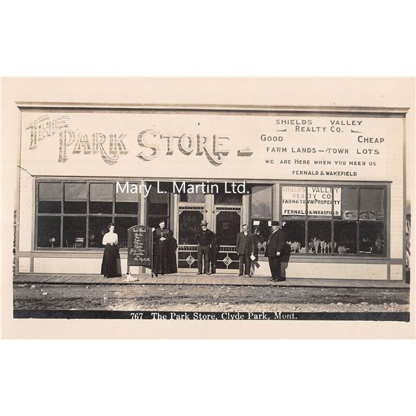 Clyde Park, Montana The Park Store Front & Realty Co. Real Photo Postcard