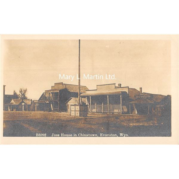Evanston, Wyoming Joss House in Chinatown Real Photo Postcard