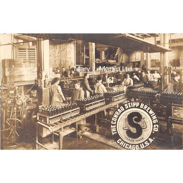 Chicago, Illinois Conrad Seipp Brewing Co. Factory Interior Real Photo Postcard