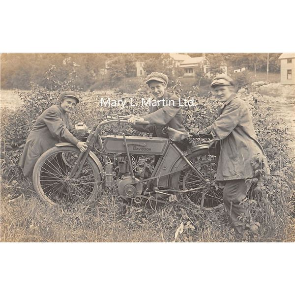 Harley Davidson Motorcylce 3 Women Real Photo Postcard