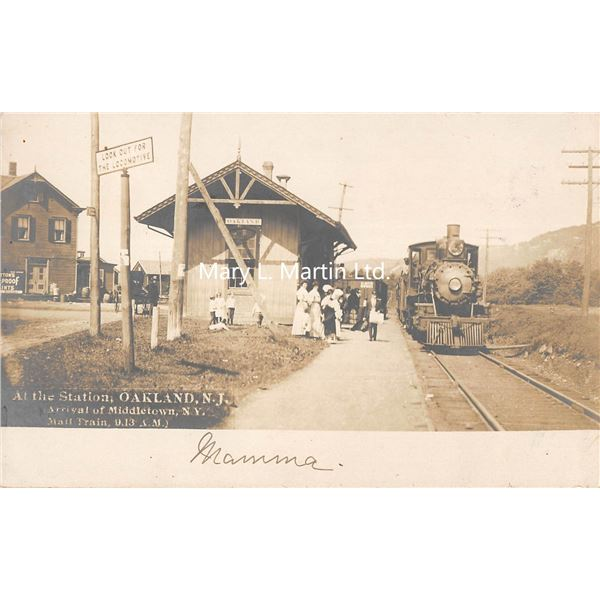 Oakland, New Jersey Train Depot Station Real Photo Postcard