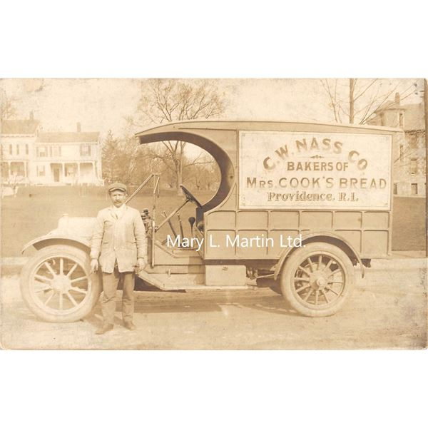 Providence, Rhode Island C.W. Nass Co Bakers of Mrs. Cook's Bread Delivery Truck Real Photo Postcard