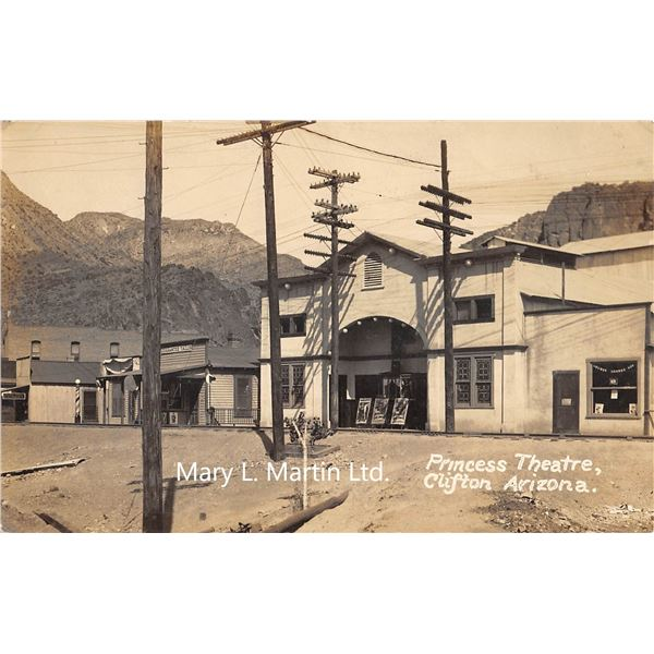 Clifton, Arizona Princess Theatre Real Photo Postcard