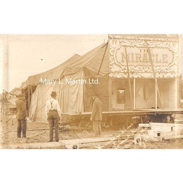 Larned, Kansas Brundage Show May 26, 1915 Amusement Disaster Real Photo Postcard