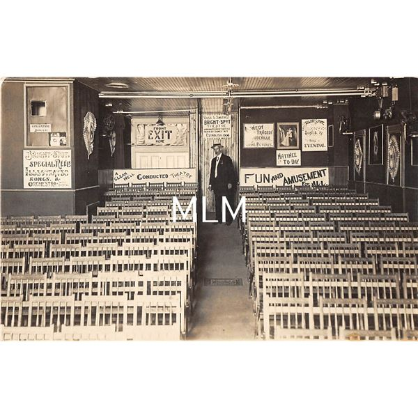 Amusement Park Theatre Interior with Great Signs Real Photo Postcard