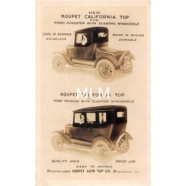 Koupet California Auto Top. Co. Advertising Real Photo Postcard