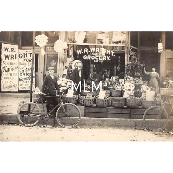 W. R. Wright Cash Grocery Store Front Fruit Display Real Photo Postcard