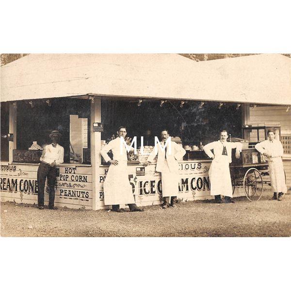Ice Cream & Pop Corn Stand with Pop Corn Wagon Real Photo Postcard