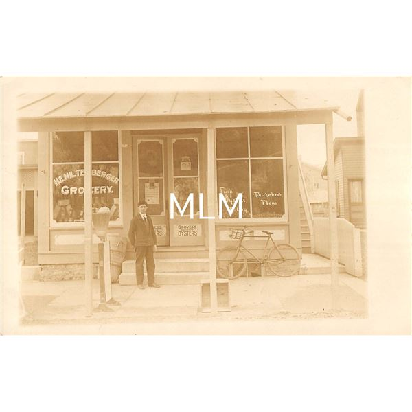 Grocery Store Front Grove's Baltimore Oysters Sign Real Photo Postcard