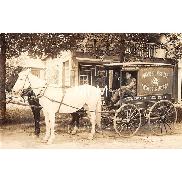 Grand Union Tea Company Newport Delivery Wagon Real Photo Postcard