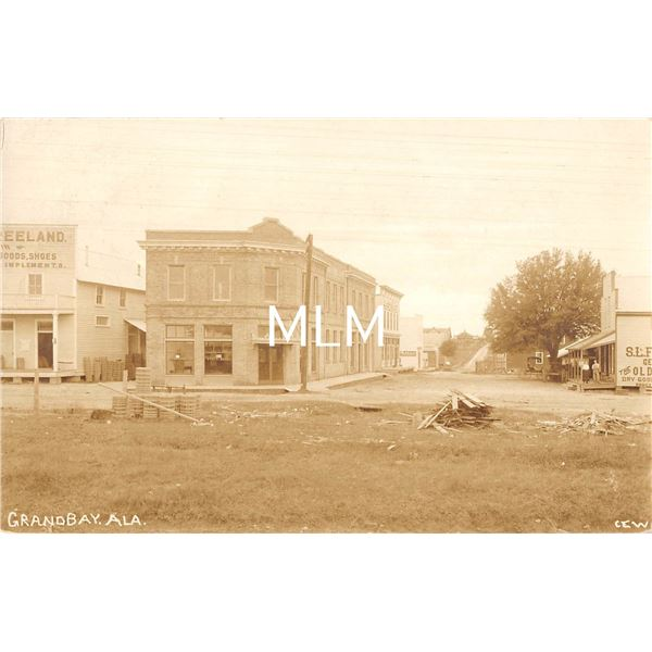 Grandbay, Alabama Showing State Bank, Land Co. & Street Real Photo Postcard