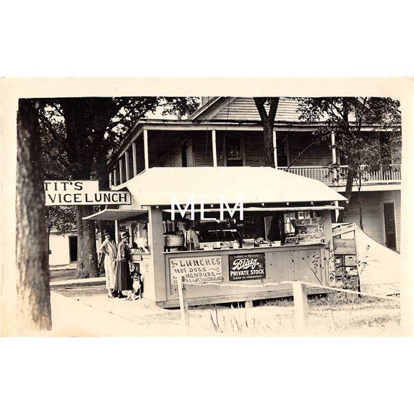 Hot Dog & Hamburger Stand with Beer Sign Real Photo Postcard