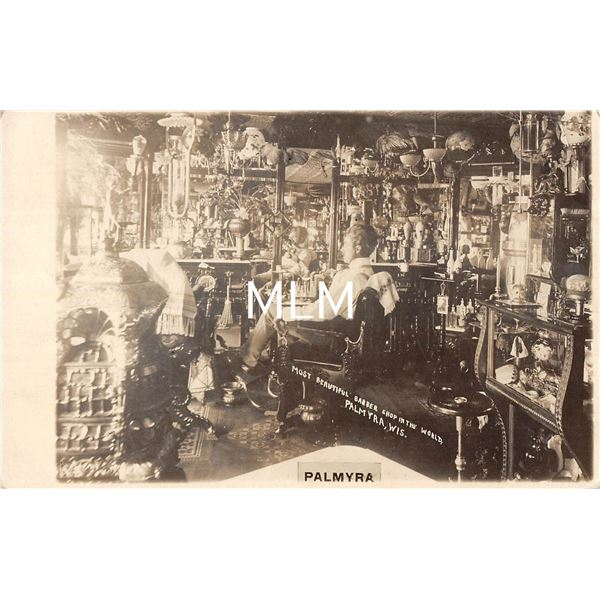 """Palmyra, Wisconsin """"Most Beautiful Barber Shop In the World"""" Interior Real Photo Postcard"""