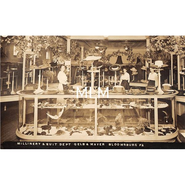 Bloomsburg, Pennsylvania Millinery & Suit Department Store Interior Real Photo Postcard