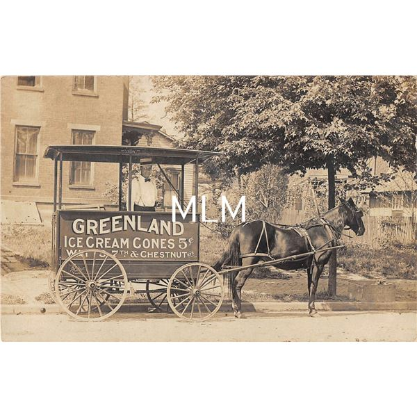 Greenland Ice Cream Cone Delivery Wagon Postmarked Ironton, Ohio Real Photo Postcard