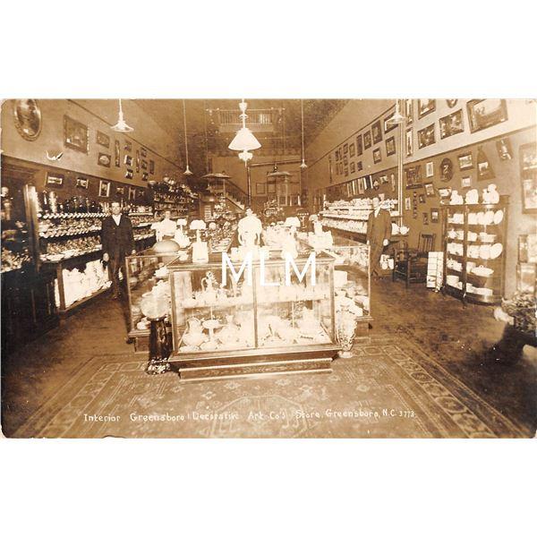 Greensboro, North Carolina Decorative Art Co.'s Store Interior Real Photo Postcard