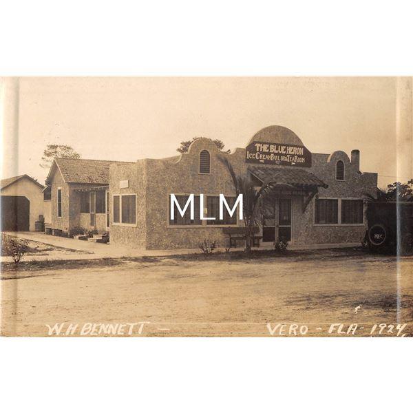 Vero, Florida The Blue Heron Ice Cream Parlor & Tea Room Real Photo Postcard
