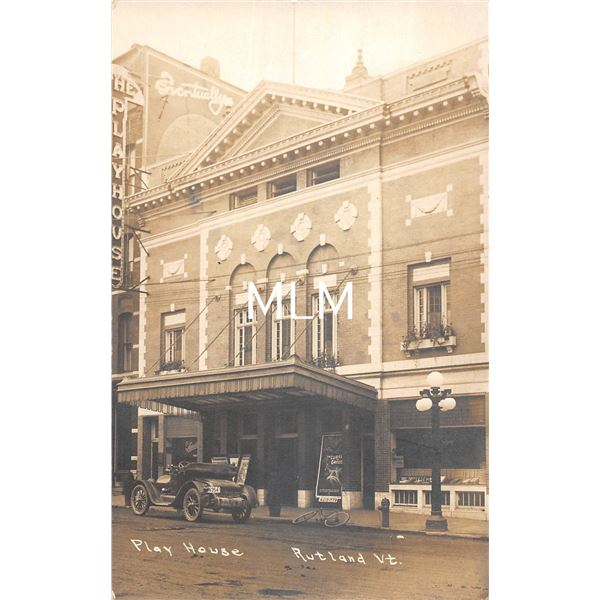 Rutland, Vermont Play House Theatre Front Real Photo Postcard