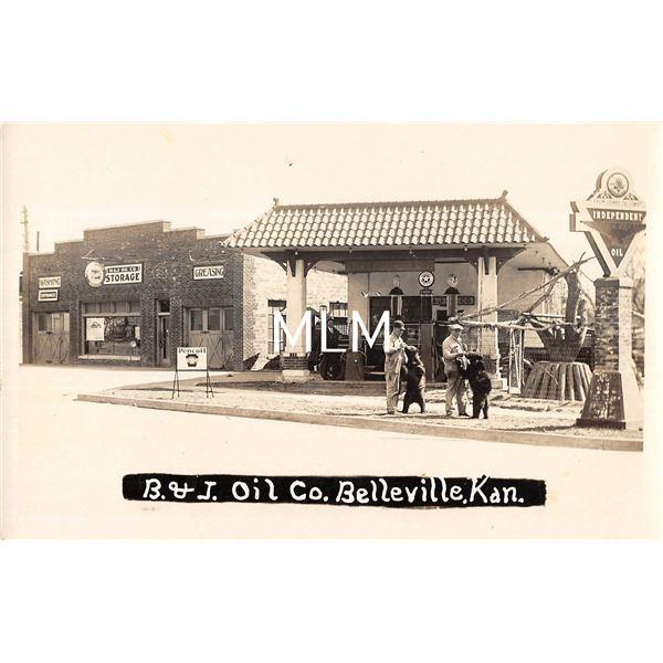 Belleville, Kansas B & J Oil Co. Gas Station Garage Real Photo Postcard