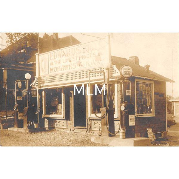 Mohawks Tires Gas Socony Gas Station Brockton, Massachusetts Postmarked Real Photo Postcard