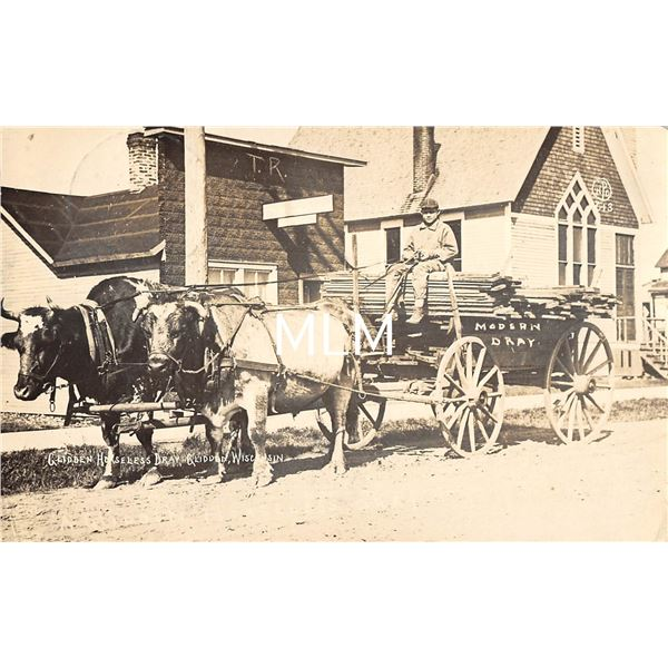 Glidden, Wisconsin Glidden Horseless Dray Delivery Wagon Real Photo Postcard