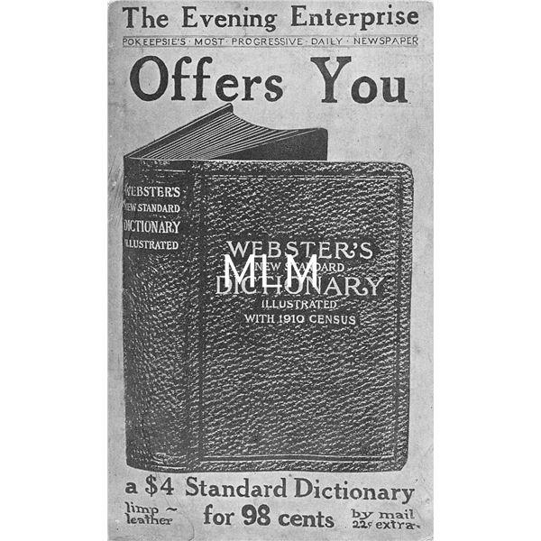 Webster's Dictionary Advertising Evening Enterprise Postcard