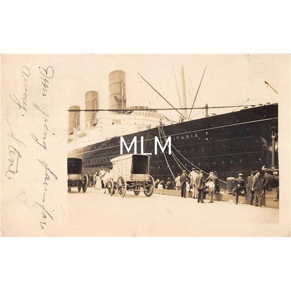 RMS Ocean Liner Lusitania of Cunard Line Real Photo Postcard