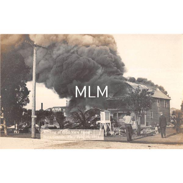 Boca Grande, Florida Burning of Gulf View Hotel Real Photo Postcard
