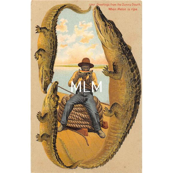 """Alligator Border S 643 """"Greetings from the Sunny South"""" When Melon is ripe African American Postcard"""