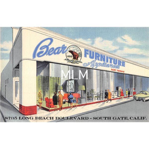 South Gate, California Bear Furniture Appliances Linen Advertising Postcard