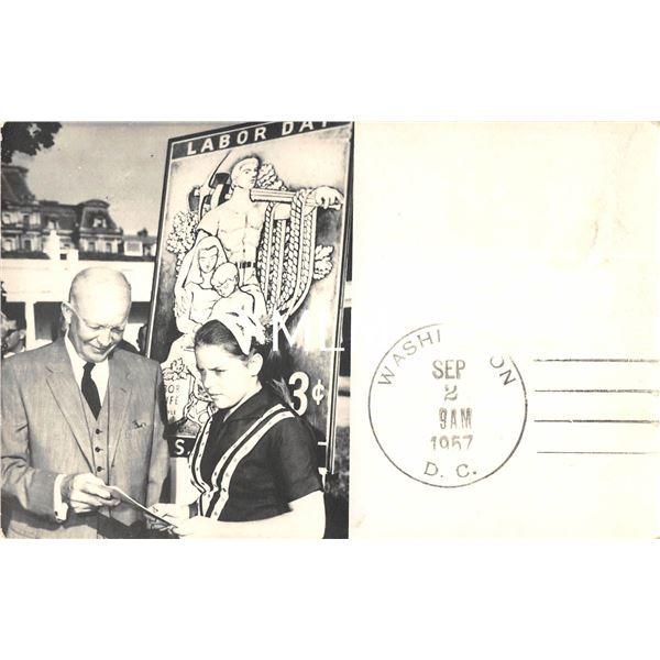 Labor Day 1957 Washington DC President Eisenhower Real Photo Postcard