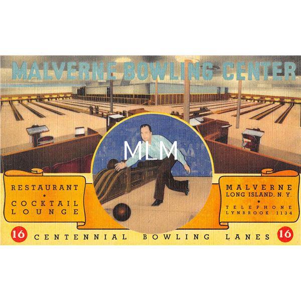 Malverne Long Island, New York Bowling Alley Interior Linen Postcard