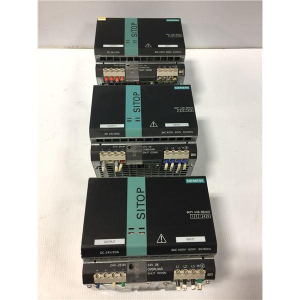 (3) - SIEMENS 6EP1436-3BA00 SITOP MODULAR 20A 1/2 PH POWER SUPPLIES