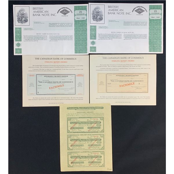 Canadian Banking Certificates - Lot of 5