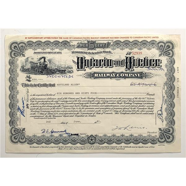 Ontario & Quebec Railway Co. Share Certificate